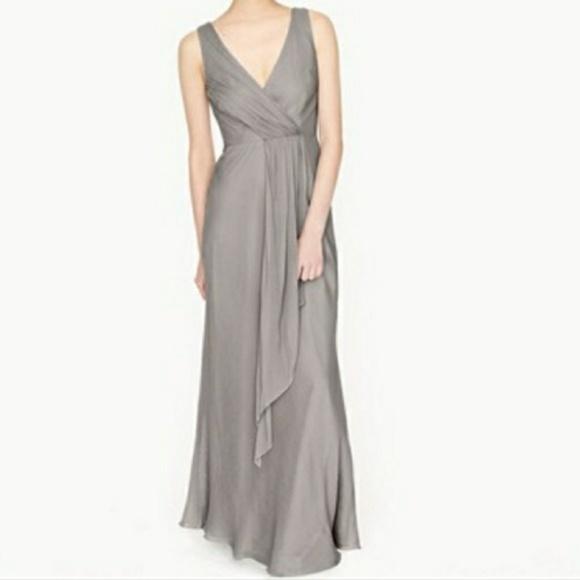 04a356fea5a3 J. Crew Dresses | Jcrew Evie Grey Silk Bridesmaid Dress 14 Nwt ...